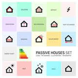 Vector passive houses icon set