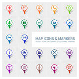 colorful vector map icons and markers