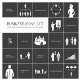 Business vector icon set on black background