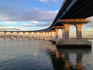 Coronado Bay Bridge at Sunset San Diego California USA