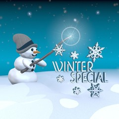 snowman with magic wand and winter special sign