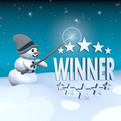 snowman with magic wand and winner label