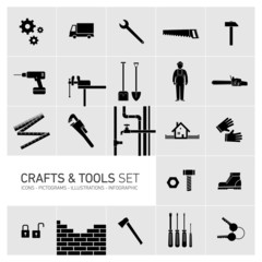 Vector crafts and tools icon set black on grey background