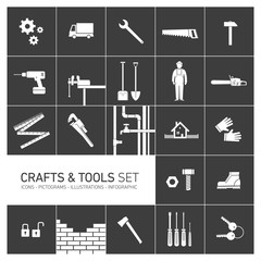 Vector crafts and tools icon set white pictograms on black