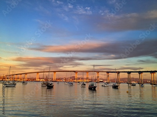 Coronado Bay Bridge at Sunset Boats in Marina San Diego USA