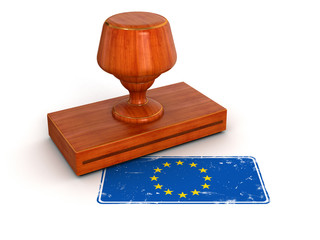 Rubber Stamp European union flag (clipping path included)