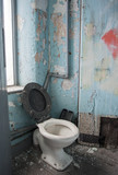 dirty toilet in derelict victorian mill