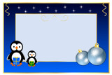 Christmas borders with penguins and balls