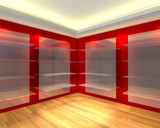 Glass shelves in red empty room