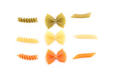 Composition of pasta in three colors.