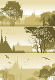 three illustrations of country Landscape with Church and Trees