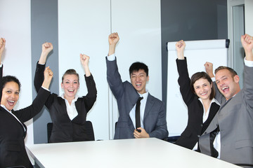 Jubilant successful business team