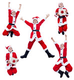 Happy santa costume boy jumping