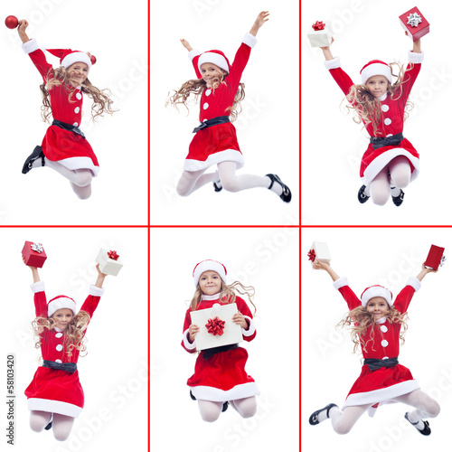 Happy girl with santa costume jumping
