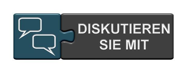 Puzzle-Button blau grau: diskutieren Sie mit