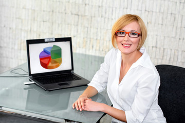 Businesswoman smile at desk