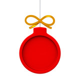 Red Christmas ball frame, 3d