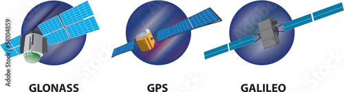 GPS GLONASS GALILEO Vector Satellite