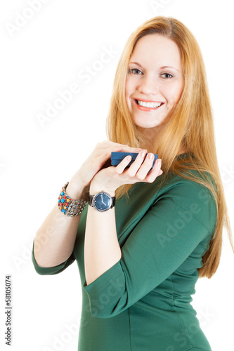 young smiling blonde woman with jewellery gift box