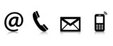 Contact Us – Set of black icons with reflection