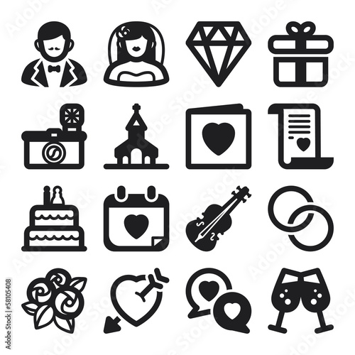 Wedding flat icons. Black