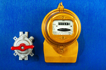 Golden electric meter with toggle switch