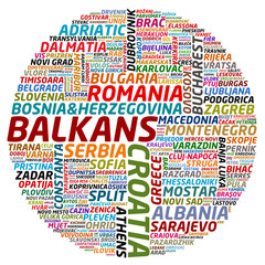 word collage of balkan countries and cities