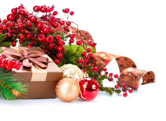 Christmas Decorations and Gift Box Isolated on White