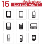 Vector black mobile phone icons set