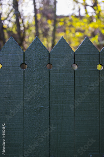 Looking over the top of a green wooden fence