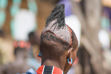 Typical hairstyle of men of the ethnic Hamer-Banna, Ethiopia