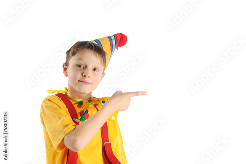 Pointing clown boy