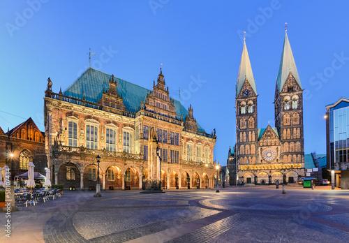 Leinwandbild Motiv Rathaus und Dom von Bremen