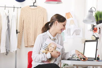 Fashion magazine editor in her office.