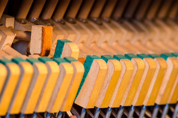 Upright piano dampers and hammers