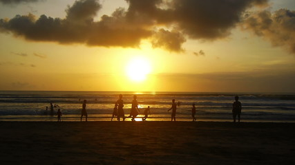 Sunset on beach, Kuta, Bali, Indonesia