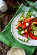fresh salad with peppers and feta