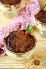 homemade tiramisu with cocoa