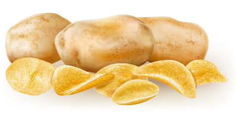 potato tubers and potato chips
