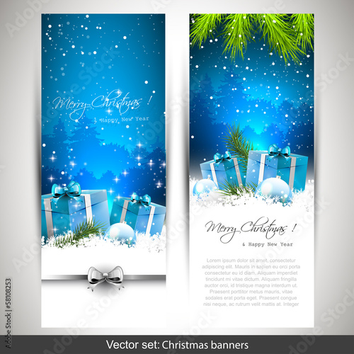 Set of two blue Christmas banners