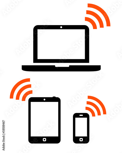 Wireless mobile devices icon set