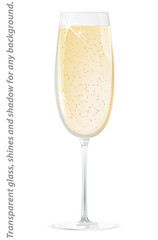 Glass of champagne - isolated on white