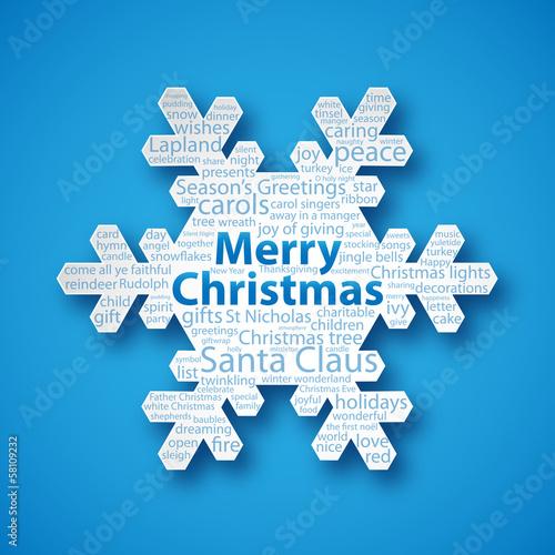 """CHRISTMAS"" Snowflake (icon happy merry greetings card)"