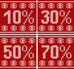 Christmas sale seamless knitted pattern