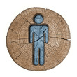 toilets WC sign for men(wooden background)