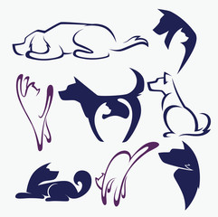 my favorite pet, vector collection of animals symbols