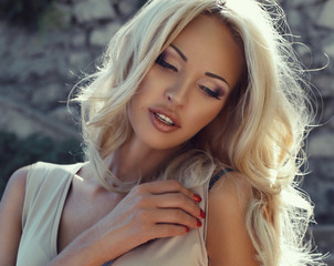 portrait of beautiful girl with blond hair