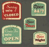 Set of Retro Vintage Signs with Grunge Effect