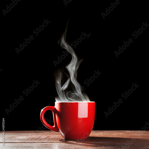 Foto op Aluminium Thee Steaming coffee cup