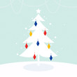 Magical Christmas Tree with retro colorful decoration